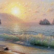 Картина маслом на холсте. Море.Восход солнца.Крымский пейзаж, в Москве