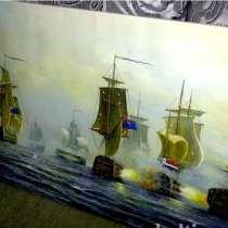 Морской бой, 60х120см, Большая Картина маслом на холсте, Худ, в Москве