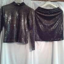 Комплект юбка и топ благородно коричневый цвет размер 44, в Севастополе