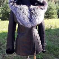 Натуральная кожа с воротником Чернобурки, в Москве