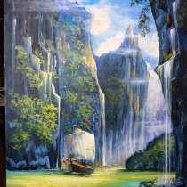Картина маслом. Водопад, в Москве