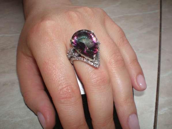 Авторское серебряное кольцо с мистик топазом17 размера.