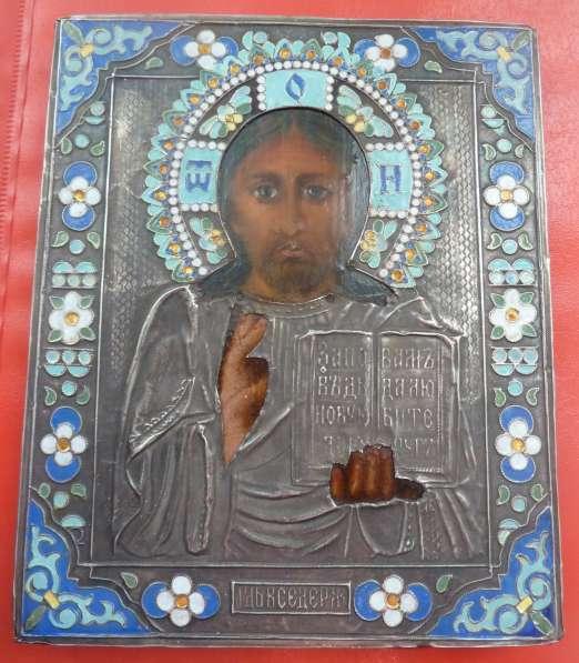 Икона Господь Вседержитель оклад серебро эмаль
