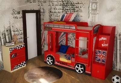 Кровать автобус Лондон +тумба–лестница