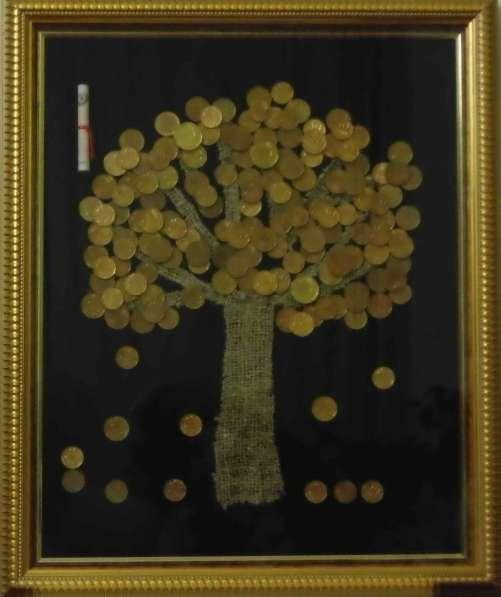 "Картина панно из монет ""Денежное дерево"" 38х46 см"