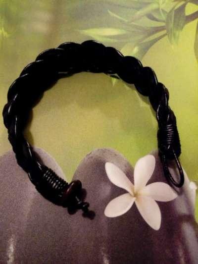 черный, плетеный, кожанный браслет