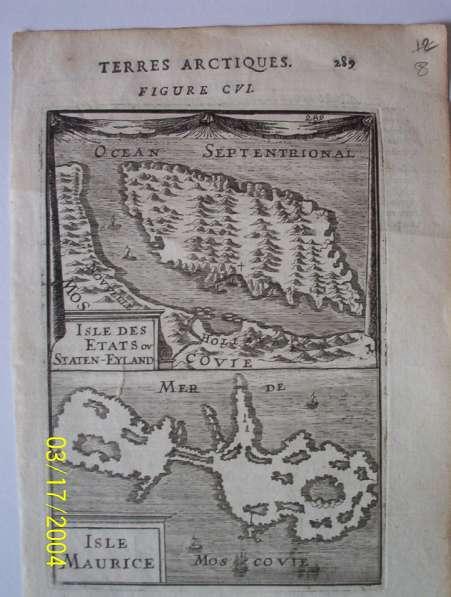Карта Земли Арктики. Острова Etats и Maurice 1719