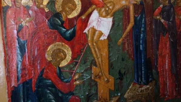 Старинный храмовый образ «Снятие с креста». Россия, XIX век в Санкт-Петербурге фото 4