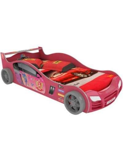 Кровать-машинка R800 с подсветкой розова
