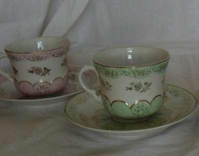 Чайные пары розовая и голубая Дулево 195