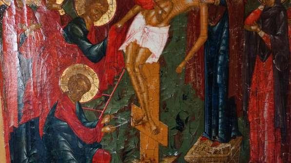 Старинный храмовый образ «Снятие с креста». Россия, XIX век в Санкт-Петербурге фото 11