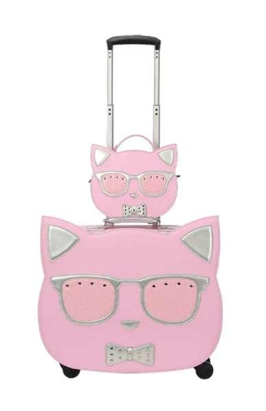 Детский чемодан на колесах с сумкой Кошка розовый