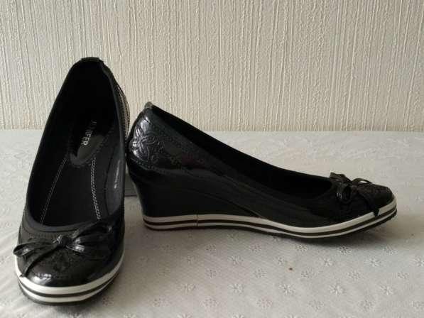 Туфли черные с белой полоской