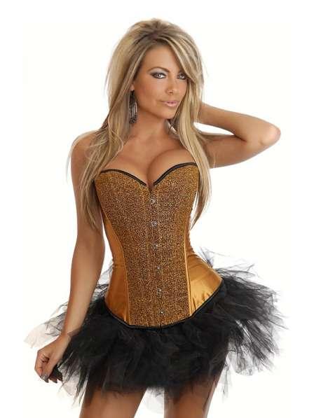 Роскошный корсет золотой, атласная юбка, пиджачок
