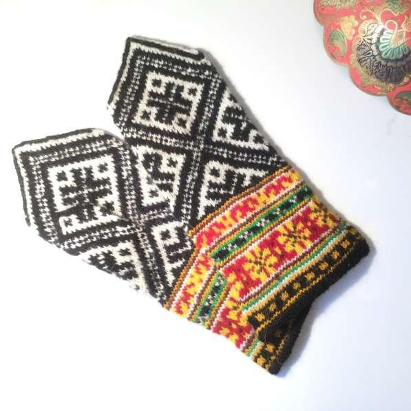 Варежки ручной работы, шерсть. Орнамент латвийский в Москве фото 3