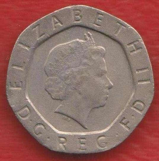 Великобритания Англия 20 пенни 1998 г. Елизавета II в Орле