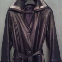 Кожаное чёрное классическое пальто с оторочкой из НЕРПЫ, в Москве