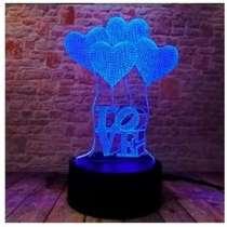 Светильник 3D с сердечками, романтичный ночник, в розницу и, в Москве