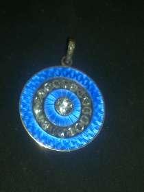 Медальон золото, бриллианты старой огранки, голубая эмаль, в Москве
