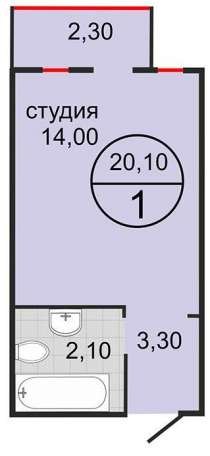 Квартира-студия 20,1 кв. м, в Краснодаре