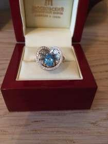 Роскошное кольцо с натуральным топазом и бриллиантами, в Москве
