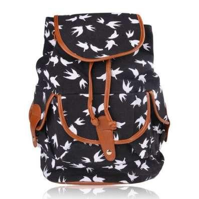 Рюкзак с ласточками черный белый