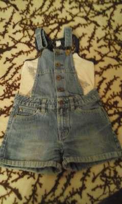 Шорты джинсовые на подтяжках на девочку