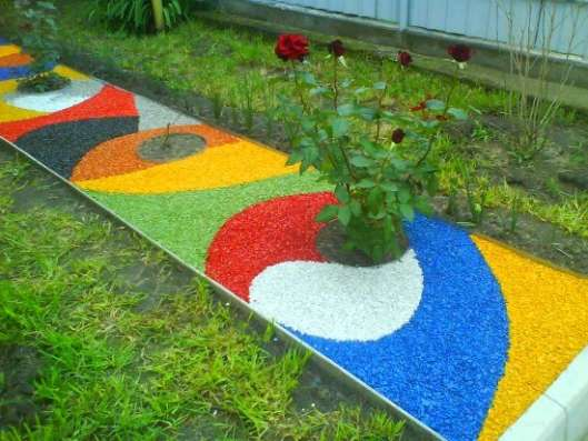 Ландшафтный цветной декоративный щебень. Доставка бесплатная