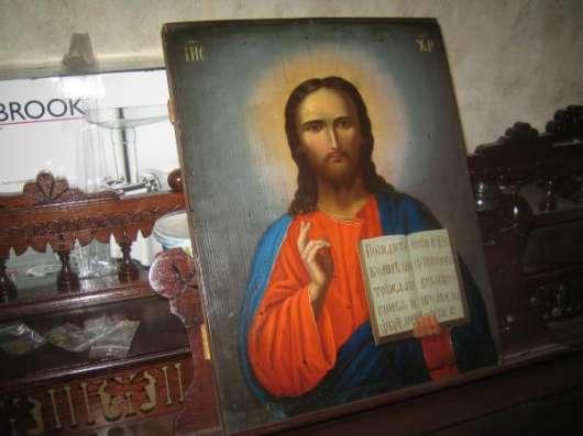 Старинную икону-Господь Вседержитель-XIXв.масло