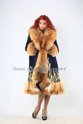"""Пальто """"Зимняя сказка""""из синей замши с мехом лисы"""