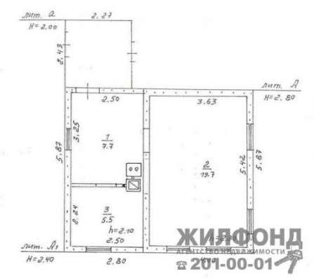 дом, Новосибирск, Чехова, 33 кв.м. Фото 1