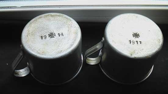 Кружки алюминиевые немецкие 1 Мировая война