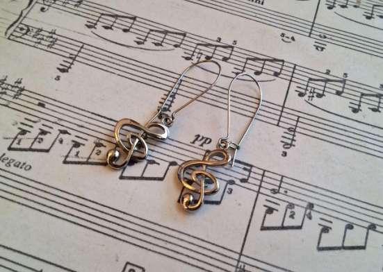 Серьги Ноты (скрипичные ключи)
